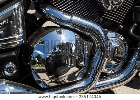 Shiny Chrome Motorcycle Engine Block Chopper. For Real Motorcycle Lovers.