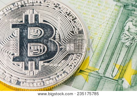Low Season Or Bear Market Bitcoin Cryptocurrency, Digital Money Concept, Closed Up Shot Of Physical