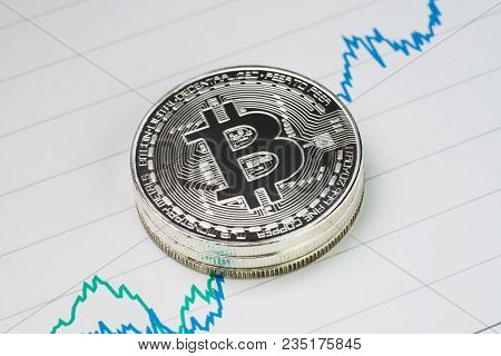 Bitcoin Cryptocurrency, Digital Money Price Rise Concept, Stack Of Physical Coins With B Sign Alphab