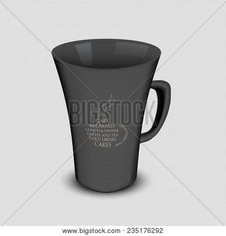 Black Vector Cup Mockup With Handle And Typography Logo