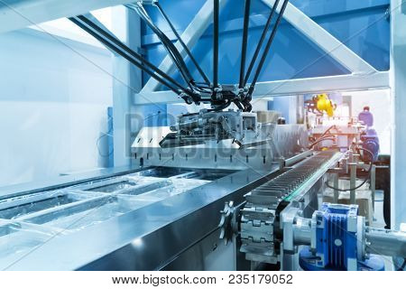 Food factory automated robotic machine. Conveyor product line for cooking and packing rations and food packs.  poster