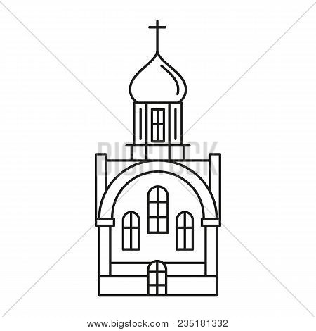 Church Icon In Outline Style. Vector Illustration With Detalized Church. Architecture And Religion O