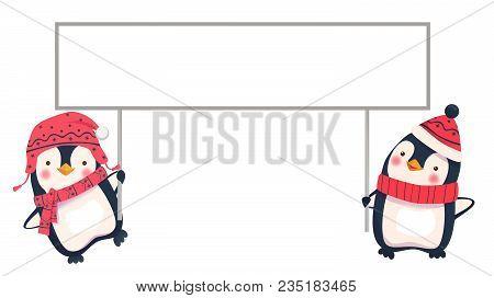 Penguin Cartoon Vector Illustration. Two Penguins Holding Banner