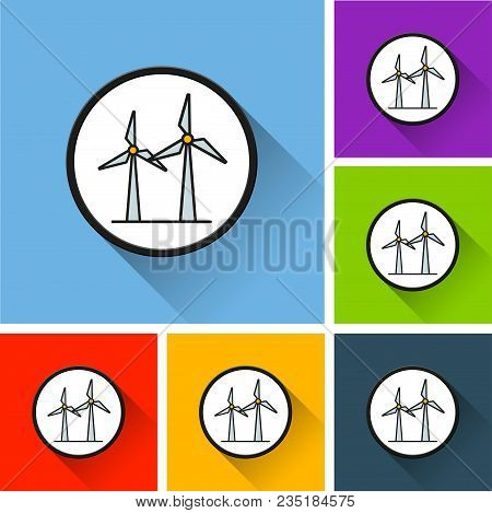 Illustration Of Wind Generator Icons With Long Shadow