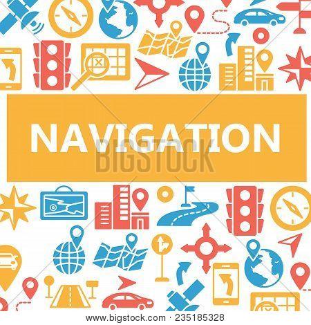 Navigation Outline Web Icons Set. Poster Of Outline Line Mobile Gps Road Navigation Location Transpo