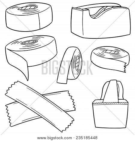 Vector Set Of Adhesive Tape Hand Drawn Cartoon