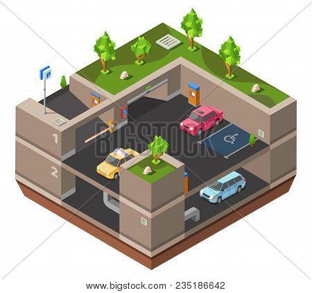 Underground Multi-story Car Parking Isometric 3d Vector Illustration For Construction Design. Isomet