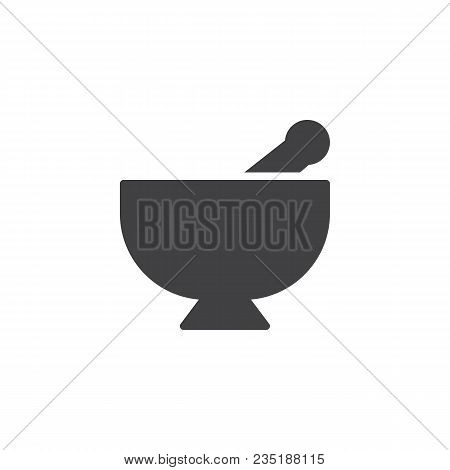 Mortar And Pestle Vector Icon. Filled Flat Sign For Mobile Concept And Web Design. Kitchen Pounder S