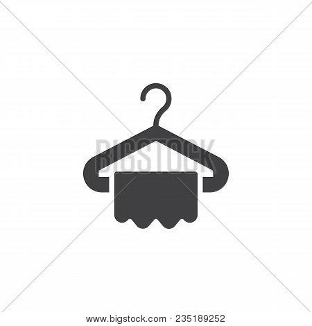 Hanger And Towel Vector Icon. Filled Flat Sign For Mobile Concept And Web Design. Clothes Hanger Sim