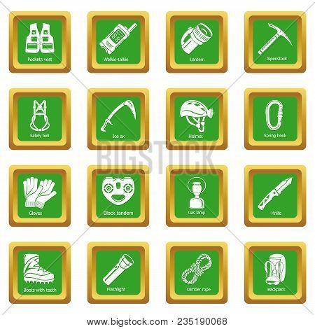 Speleology Equipment Icons Set Vector Green Square Isolated On White Background