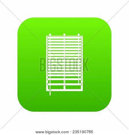Window With Wooden Jalousie Icon Digital Green For Any Design Isolated On White Vector Illustration
