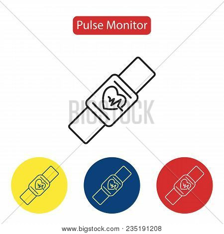 Pulse Monitor Fit Icons. Fitness Smart Watch Modern Mobile Device With Pulse Screening Monitor Thin