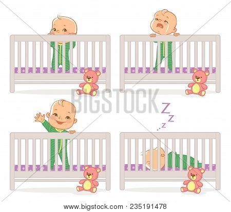 Little Baby In Crib. Baby Boy Stand In His Bed. Kid With Different Emotions. Scared, Curious, Crying