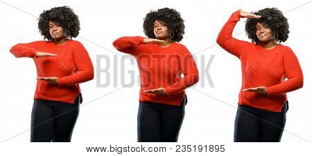 Young beautiful african plus size model holding something, size concept isolated over white background. Collection composition 3 figures collage