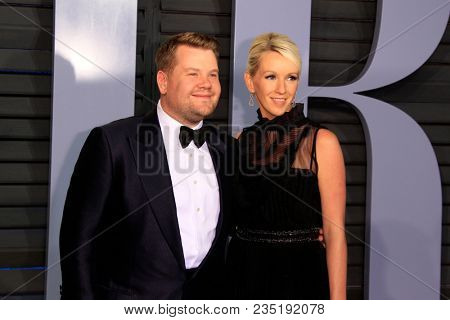 LOS ANGELES - MAR 4:  James Corden, Julia Carey at the 24th Vanity Fair Oscar After-Party at the Wallis Annenberg Center for the Performing Arts on March 4, 2018 in Beverly Hills, CA