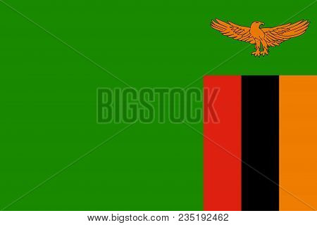 Flag Of Zambia Official Colors And Proportions, Vector Image
