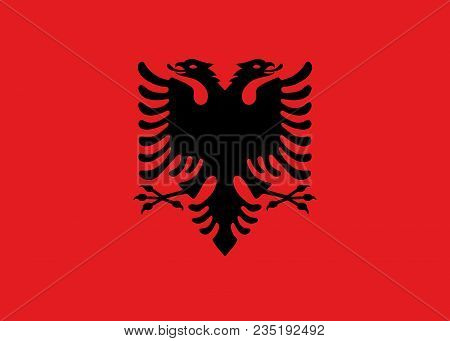 Flag Of Albania Official Colors And Proportions, Vector Image