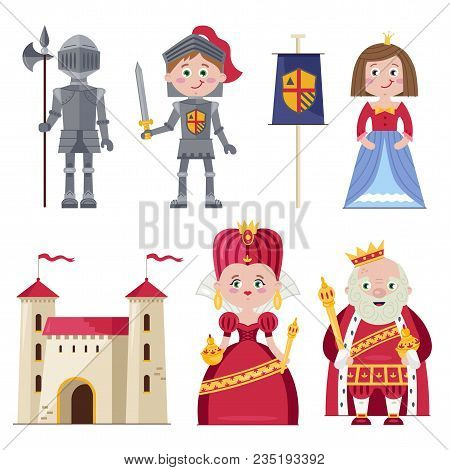 Graphic Set Of Royal Family With Princess And Knight Wearing Armour Composed On White With Kingdom C