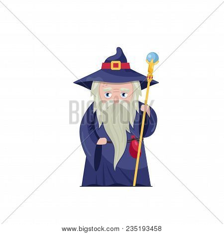Flat Design Of Old Man In Gown Of Magician Holding Powerful Staff Isolated On White.