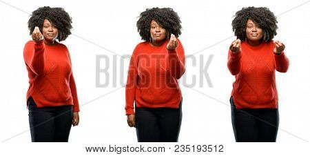 Young beautiful african plus size model angry gesturing typical italian gesture with hand, looking to camera isolated over white background. Collection composition 3 figures collage