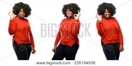 Young beautiful african plus size model doing ok sign with hand, approve gesture isolated over white background. Collection composition 3 figures collage