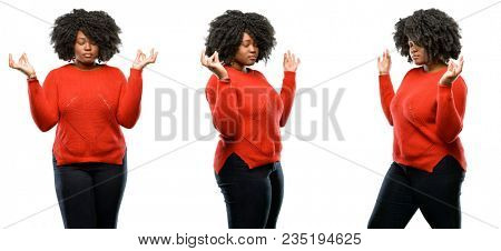 Young beautiful african plus size model doing ok sign gesture with both hands expressing meditation and relaxation isolated over white background. Collection composition 3 figures collage