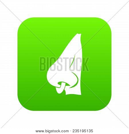 Human Nose With Piercing Icon Digital Green For Any Design Isolated On White Vector Illustration