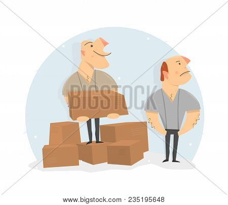 Movers Load Boxes. Delivery Service. Cartoon Character Funny And Comic Style.