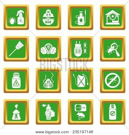 Pest Control Tools Icons Set Vector Green Square Isolated On White Background