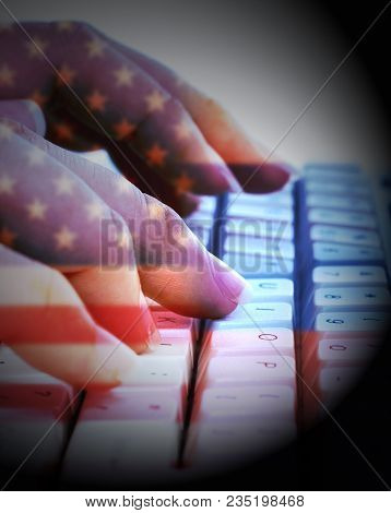American And Russian Flags On Keyboard Showing Hacking