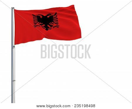 Isolate Flag Of Albania On A Flagpole Fluttering In The Wind On A White Background, 3d Rendering