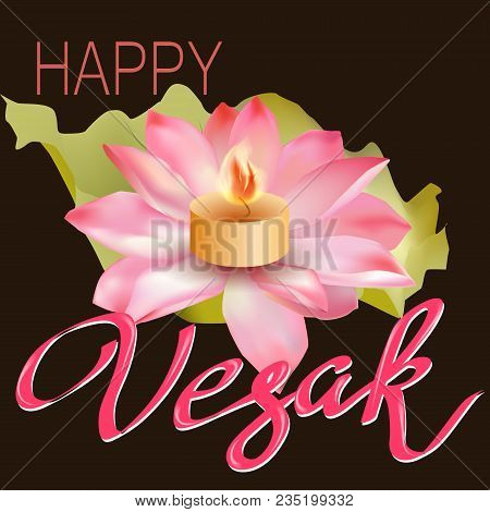 Pink Realistic Lotus With Text On A Dark Background. Vector Illustration.