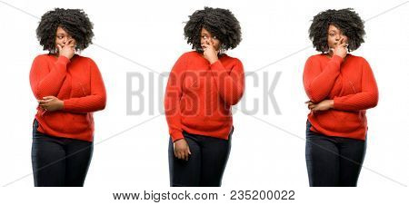 Young beautiful african plus size model scared in shock, expressing panic and fear isolated over white background. Collection composition 3 figures collage