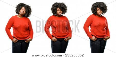 Young beautiful african plus size model with sleepy expression, being overworked and tired isolated over white background. Collection composition 3 figures collage