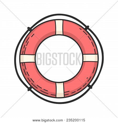 Hand Drawn Vector Cartoon Lifebuoy Isolated On White Background