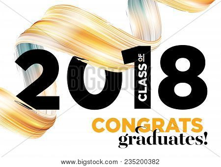 Congratulations Graduates Class Of 2018 Vector Logo Design. Greeting Card Background With Creative G