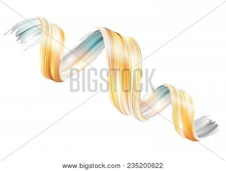 Vector 3d Liquid Paint Twirl. Abstract Spiral Brush Stroke. Ribbon Shape. Digital Liquid Ink. Dynami