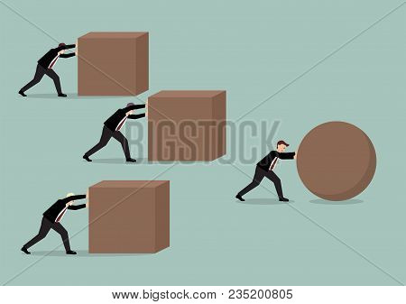 Businessman Pushing A Sphere Leading The Race Against A Group Of Businessmen Pushing Cubes. Business