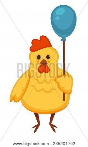 Ridiculous Plump Chicken That Holds Blue Balloon By Rope. Cheerful Yellow Hen With Plump Belly On Th