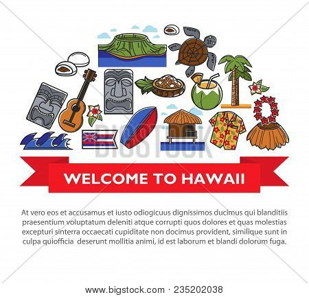 Hawaii Welcome Poster Of Famous Symbols And Tourism Sightseeing Attraction Landmarks. Vector Design