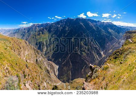 Colca Canyon Is A Canyon Of The Colca River In Southern Peru
