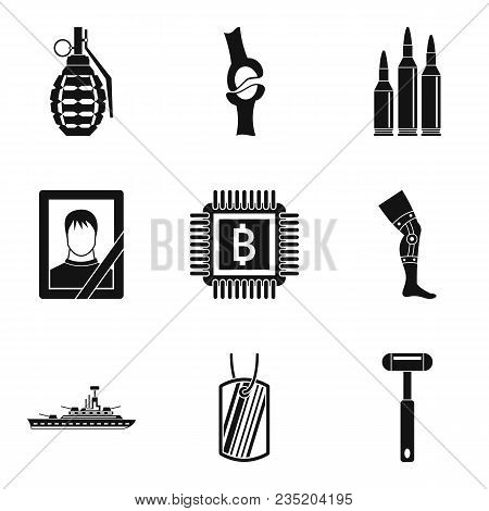 Military Aid Icons Set. Simple Set Of 9 Military Aid Vector Icons For Web Isolated On White Backgrou