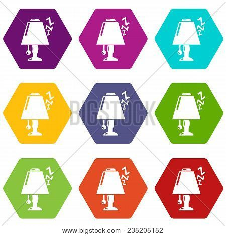 Lamp Icons 9 Set Coloful Isolated On White For Web