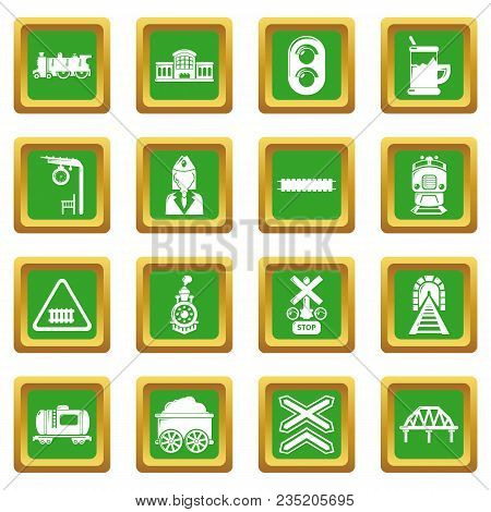Train Railroad Icons Set Vector Green Square Isolated On White Background