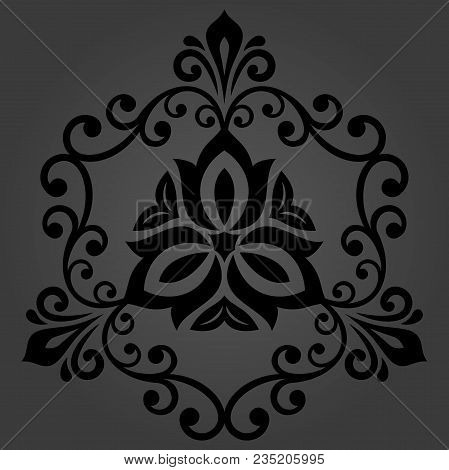 Oriental Vector Pattern With Arabesques And Floral Elements. Traditional Classic Dark Ornament. Vint