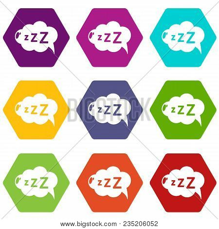 Snoring Icons 9 Set Coloful Isolated On White For Web