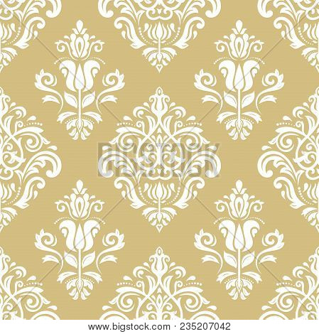 Classic Seamless Vector Golden And White Pattern. Damask Orient Ornament. Classic Vintage Background