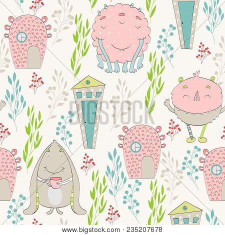 Vector Seamless Pattern With Cartoon Funny Monsters And Houses.