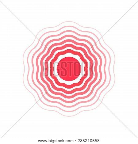 Vector Circles, Symbol Of Pain. Divergent Concentric Damping Waves. Flat Illustration.