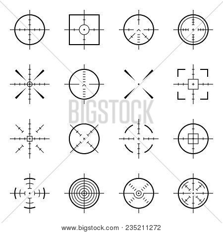 Unusual Bullseye, Accurate Focus Symbols. Precision Aims, Shooter Target Vector Icons. Illustration